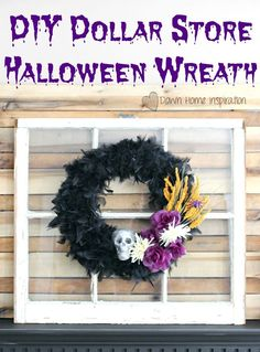 DIY Dollar Store Halloween Wreath - Down Home Inspiration