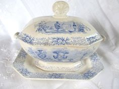 SALE 1840s Transferware Sauce Tureen With by AuntSuesVintage, $224.99