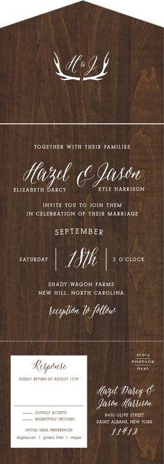 Rustic Wood Seal & Send Wedding Invitations