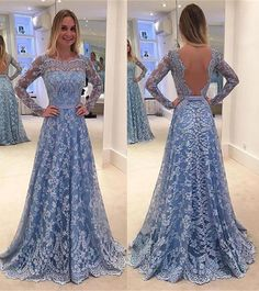 A-Line Long Sleeves Bateau Backless Floor-length Lace Evening Dresses with Belt,Vintage Prom Dresses Long,P129