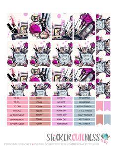 Free Printable Makeup Bag Planner Stickers from StickerCuteness Mini Happy Planner, Free Planner, Planner Pages, Planner Ideas, Glam Planning, Printable Planner Stickers, Free Printables, Organizing, Organization