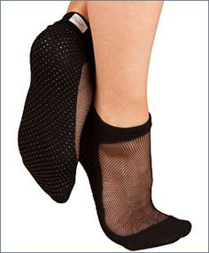 For pilates. Socks with grippers and mesh upper.
