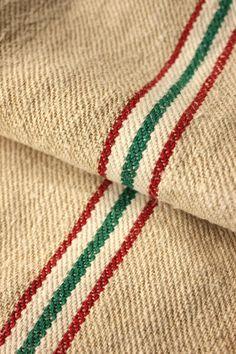 Antique European Hemp Grain Sack Stunning Reversible Christmas Green Stripes