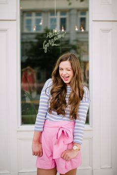 jcrew pink shorts jcrew outfit preppy outfit stripes pearls kate spade pink and blue cotton candy
