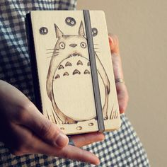 Wooden totoro refillable notebook by ChibiPyroFable on Etsy