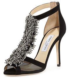 Jimmy Choo Feline crystal beaded black suede sandals size 37 NIB T strap $1250 #JimmyChoo #TStrap