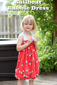 Sailboat Bubble Dress Tutorial | Alida Makes.  When it gets too small, remove straps and it's a bubble skirt!