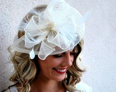 White Fascinator Tea Party Hat Wedding Veil by QueenSugarBee