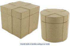 Grandes boîtes à bandes en carton papier mâché: Ronde pour papa;Carrée pour maman
