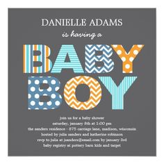 Baby Shower for Boy Cutout Letters Baby Shower Invitation - Boy