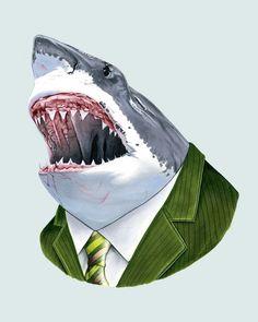 Great White Shark Print on ETSY:berkleyillustration