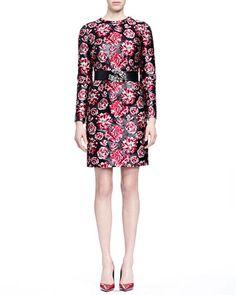 B2XSK Lanvin Bracelet-Sleeve Floral-Jacquard Sheath Dress