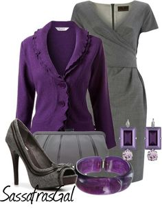 """Purple & Gray"" by sassafrasgal Lila Outfits, Purple Outfits, Mode Outfits, Classy Outfits, Chic Outfits, Beautiful Outfits, Fashion Outfits, Womens Fashion, Woman Outfits"