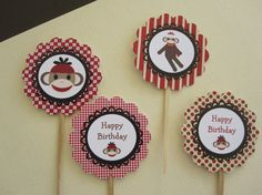 12 Red & Brown Sock Monkey Cupcake Toppers by DKDeleKtables, $6.00