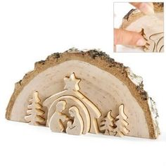Art Lovely rustic nativity scene. christmas-decorating