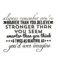 Recuerda siempre que eres más valiente de lo que crees, más fuerte de lo que pareces, más listo de lo que piensas y dos veces más guapo de lo que jamás has imaginado