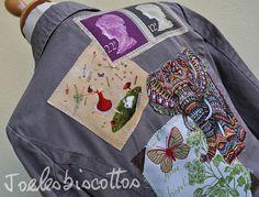 Veste kaki /chocolat en coton, customisée, relookée (Taille2 =38) style baroudeuse, coupe légèrement cintrée Nouveau Look, Custo, Cotton Jacket, India Travel, Metal Buttons, Size 2, Sewing, Pretty, Fabric
