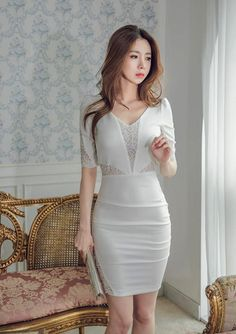 Find images and videos about dress, moda and kfashion on We Heart It - the app to get lost in what you love.Berry One-Piece discovered by Amber P on We Heart It Tight Dresses, Casual Dresses, Short Dresses, Fashion Dresses, Asian Fashion, Girl Fashion, Beautiful Asian Women, Asian Woman, Asian Beauty