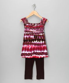 Take a look at this Purple Spotted Stripe Ruffle Tunic & Brown Leggings - Toddler by Danica and Dylan on #zulily today!