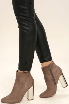 0b4a7aa635a The Ashton Taupe Suede Ankle Booties have that extra something you ve been  looking for