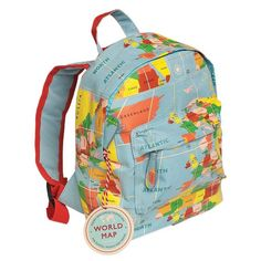 Vintage world map mini children's backpack with carry handle and adjustable padded shoulder straps. This child's rucksack comes in the very popular vintage world map print with contrasting red shoulder straps. It is perfect for school, for gym shoes or swimming costume and also great for day trips and picnics. It has a padded back, a zipped main compartment and a small front pocket for easy access.