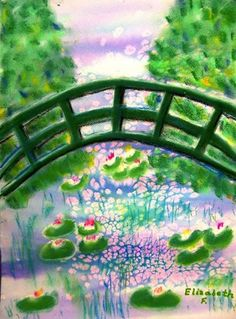Monet Japanese Bridge could use the salt/ water colour technique for the water and then layer things on top of it.
