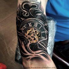 Pocket Watch Tattoo by Leonardo Acosta # .- Taschenuhr-Tattoo von Leonardo Acosta # Pocket watch tattoo by Leonardo Acosta # … - Hand Tattoos, Forearm Sleeve Tattoos, Best Sleeve Tattoos, Body Art Tattoos, Cool Tattoos, Portrait Tattoos, Tribal Tattoos, Clock Tattoo Sleeve, Tattoo Sleeve Designs