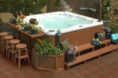 Jacuzzi Outdoor Hot Tub Surround Ideas Cool Hot Tub Surround With Narrow Outdoor Bar Table Idea Feat Wood Greenery Bed Design Plus Comfortable Stools Jacuzzi Outdoor Sauna