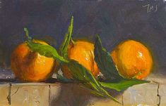 Three clementines A Daily painting by Julian Merrow-Smith