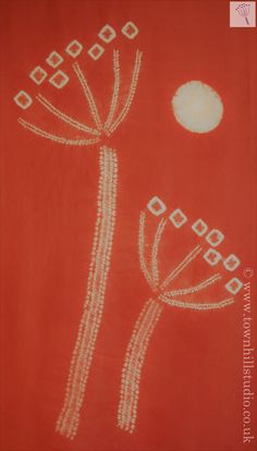 Madder dyed silk panel with hogweed and sun design by Townhill Studio
