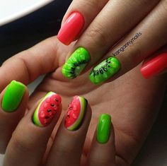 Beautiful nails to the sea, Berry nails, Bright summer nails ideas, Cheerful nails, Fashion nails 2017, Kiwi nails, Nails with berries, Pink and lime green nails