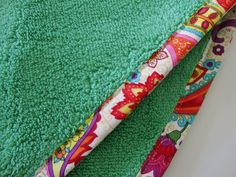 GREEN Hair Towel with Paisley Fabric Trim  Head by Jambearies