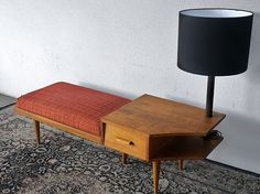 Vintage 1960's Settee with Telephone Table & Attached Lamp - Via