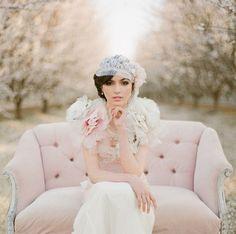 Claire Pettibone Dew Drop Wedding Gown & Dew Drop Bolero - Photos: This Modern Romance -- Almond Orchard Wedding Inspiration
