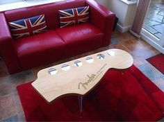 Retro / Cool Limited Edition Fender / Gibson Style Guitar Coffee Table Not  A Geeeeter Aficionado