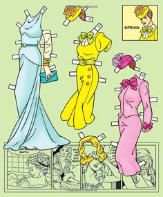 Comics Cuties Fashions for All Seasons Paper Dolls: Ted Menten,* 1500 free paper dolls international artist Arielle Gabriel's The Internatonal Paper Doll Society for paper doll pals at Pinterest *