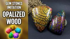 DIY Opalized Wood stone. Polymer Clay Realistic Gemstone imitation techn...