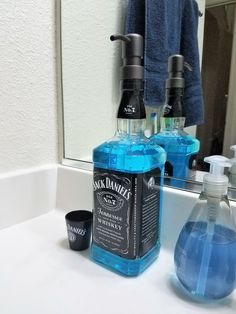Unique gift idea for the man that has it all, a custom dispenser for mouth rinse, hand soap and so much more! Liquor Bottle Crafts, Liquor Bottles, Whiskey Dispenser, Man Cave Bathroom, Whiskey Gifts, Home Bar Decor, 21st Birthday Gifts, Soap Dispensers, Jack Daniels Whiskey