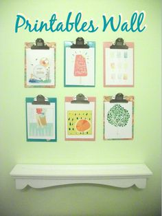 Use mini clipboards to create a printables wall!  Before 3 pm - Getting it all done before the kids get home!