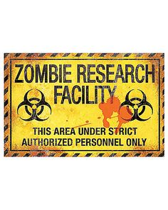 17 Inch Zombie Research Metal Sign - Decorations - Spirithalloween.com