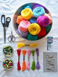 Materials you will need for making a tassel pom pom bag charm - resized