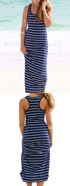 Blue and White Stripe Bodycon Vest Dress-CHOIES