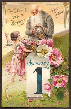 New Year postcard with Father Time