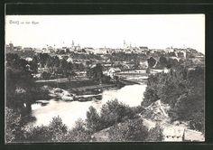 old postcard: AK Saaz, Totalansicht mit der Eger Old Postcards, Paris Skyline, Travel, Vintage, Czech Republic, Viajes, Destinations, Traveling, Vintage Comics