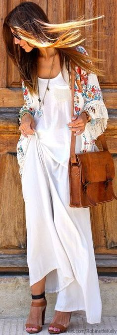 Kimono with white maxi and neutral accessories.