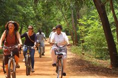 On a Cycle Trip in Auroville Woods!  A cycling enthusiast, Lt. Governor was at Auroville, biking through the tree-lined paths in the Tropical Dry Evergreen Forest Preserve.  #Pondicherry #Puducherry #Pondy #Pondytourism