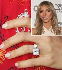 Guiliana Rancic's 4 carat cushion cut diamond ring with micro pave halo. Celebrity Rings, Celebrity Engagement Rings, Best Engagement Rings, Solitaire Engagement, Wedding Engagement, Cushion Cut Diamond Ring, Cushion Cut Diamonds, Bling Wedding, Dream Wedding