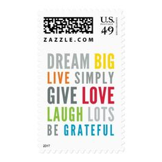 MOTIVATIONAL WORDS TO LIVE BY modern typography Postage - modern gifts cyo gift ideas personalize