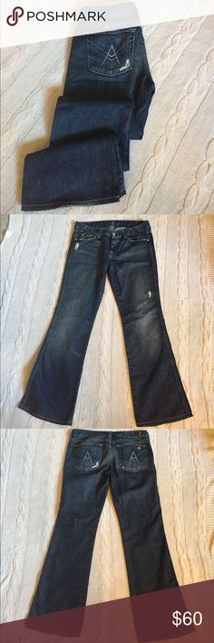 "7 For All Mankind A Pocket Flare 7 For All Mankind ""A"" Pocket Flare jeans. Distressed 100% cotton denim.                          😎😎😎 7 For All Mankind Jeans Flare & Wide Leg"