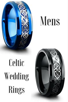 Mens blue or black celtic wedding rings. Both rings are designed with a silver celtic design resting on top of a carbon fiber inlay.